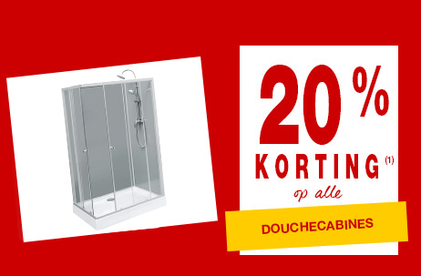 20% korting op alle douchecabines